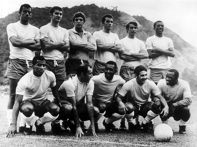 The Brazilian football team pose for a picture during the 1970 World Cup