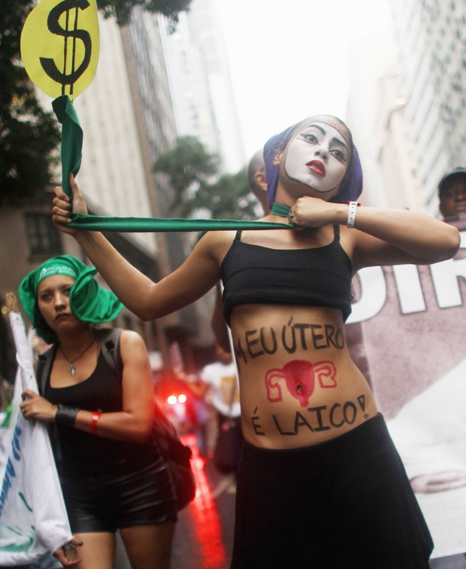 Protestors in Rio de Janeiro, Brazil