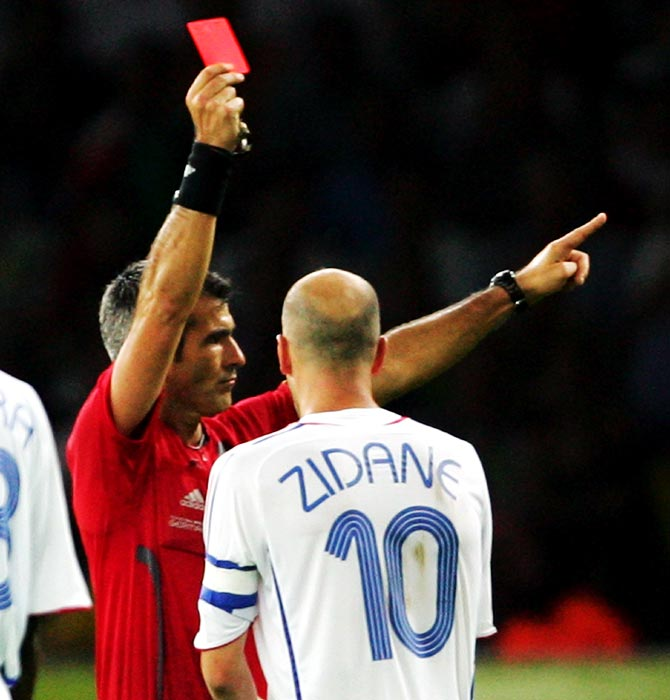 Zinedine Zidane of France is shown a red card by Referee Horacio Elizondo