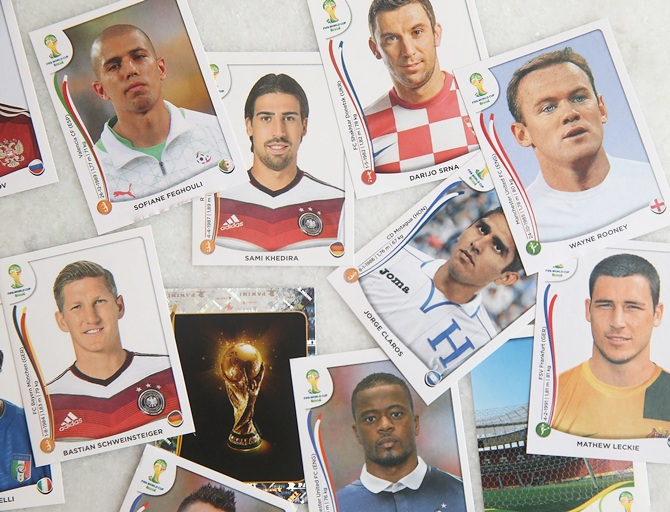 Panini World Cup stickers are displayed