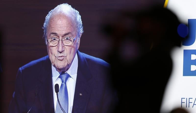 FIFA President Sepp Blatter is seen on a large screen as he delivers a speech during the opening ceremony of the 65th FIFA Congress in Sao Paulo on Wednesday