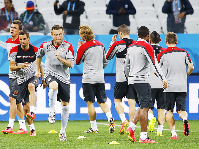 Croatia national footballers attend a training session in Sao Paulo on Wednesday