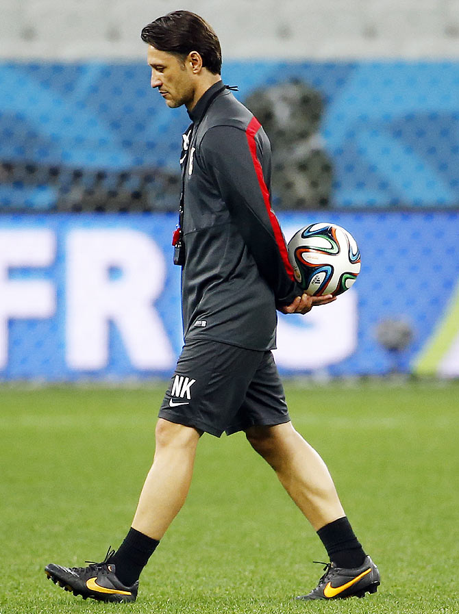 Croatia's head coach Niko Kovac walks on the pitch during his team's final practice in Sao Paulo on Wednesday