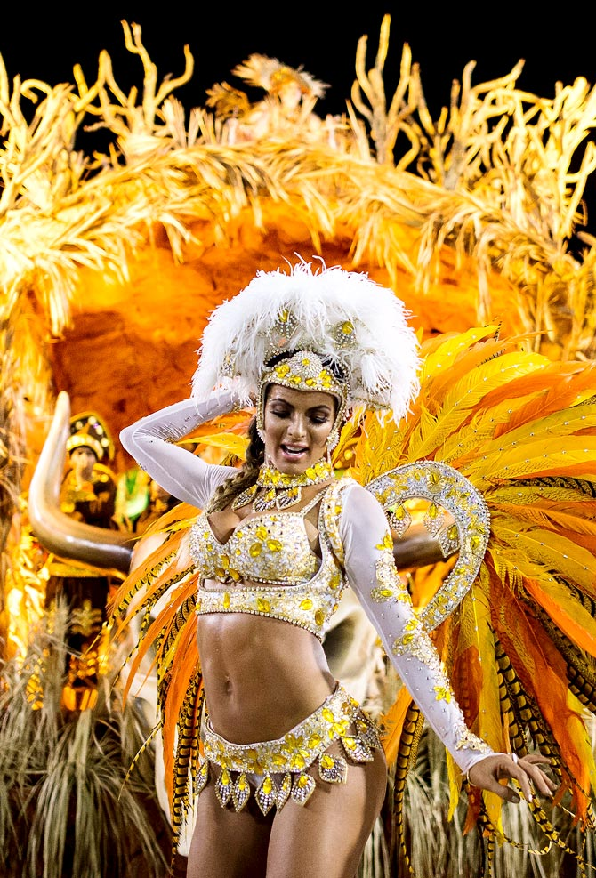 A performer during the 2014 Brazilian Carnival at Sapucai Sambadrome in Rio de Janeiro