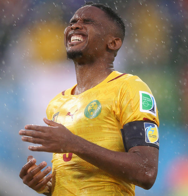 Samuel Eto'o of Cameroon reacts after a missed chance
