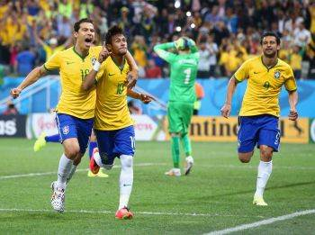 Neymar celebrates after scoring Brazil's second goal