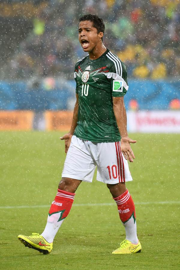 Giovani dos Santos of Mexico reacts after his goal was disallowed due to an off-side call in the first half