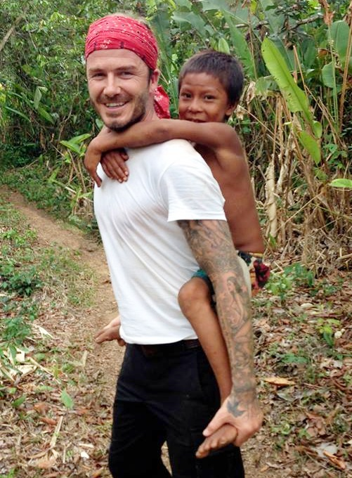 David Beckham in the Amazon as part of the documentary