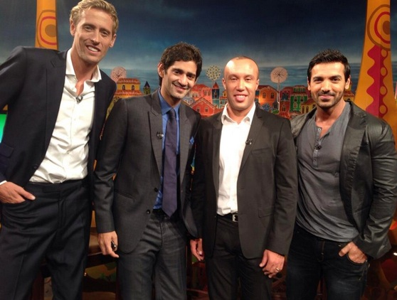 John Abraham, extreme right with Peter Crouch, left and Mikael Silvestre