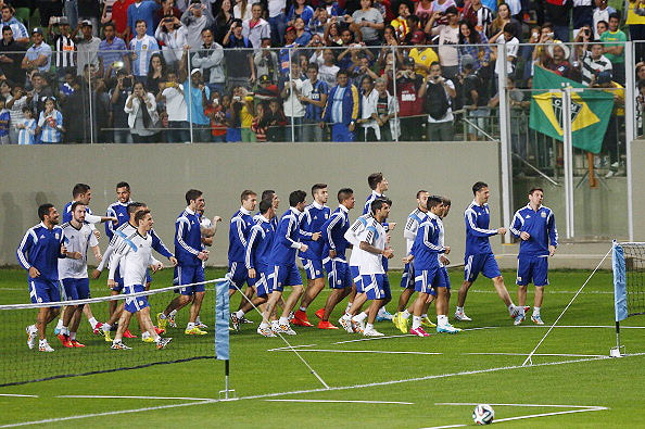 The Argentina team gets booed by Brazil fans as they head for training at Independencia Stadium in Belo Horizonte
