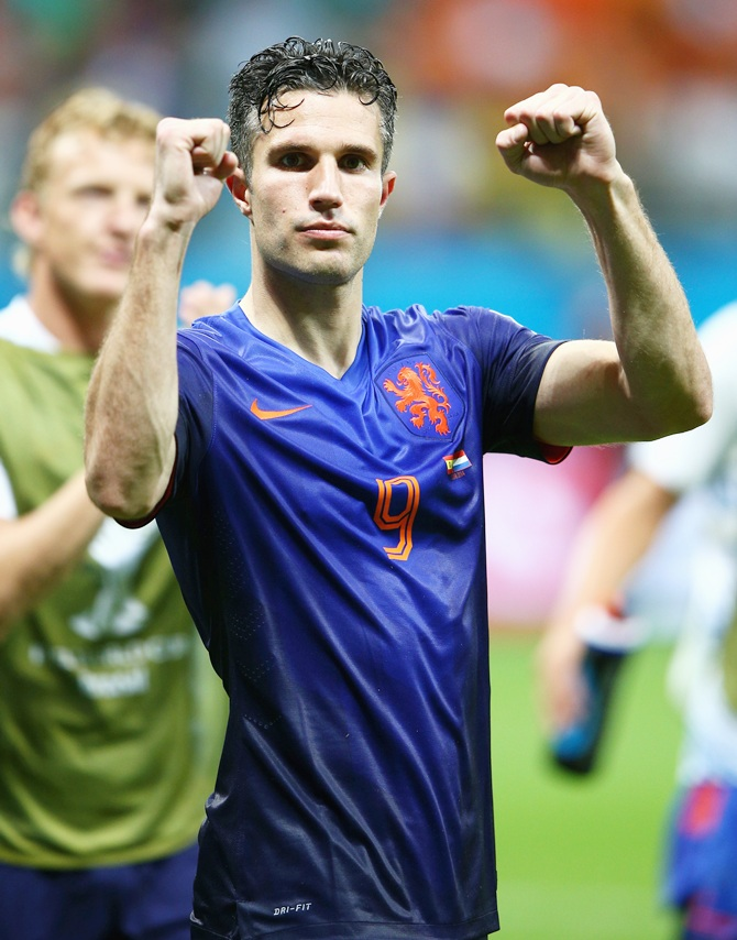 Robin van Persie of the Netherlands acknowledges the fans