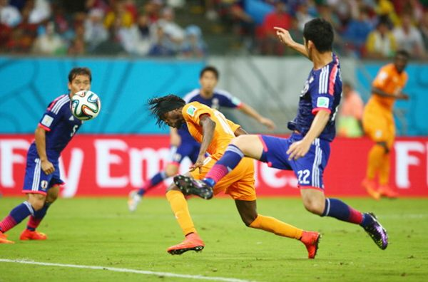 Gervinho of the Ivory Coast scores on a header for his team's second goal