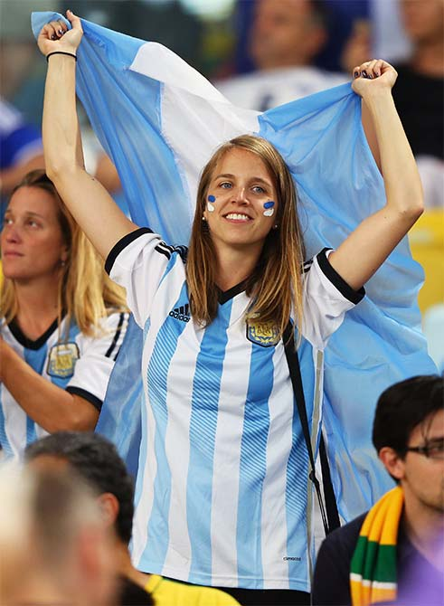 An Argentina fan enjoys the atmosphere