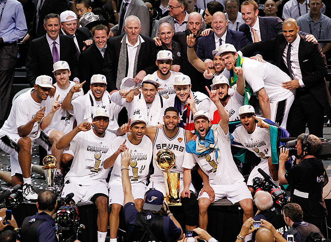 The San Antonio Spurs celebrate with