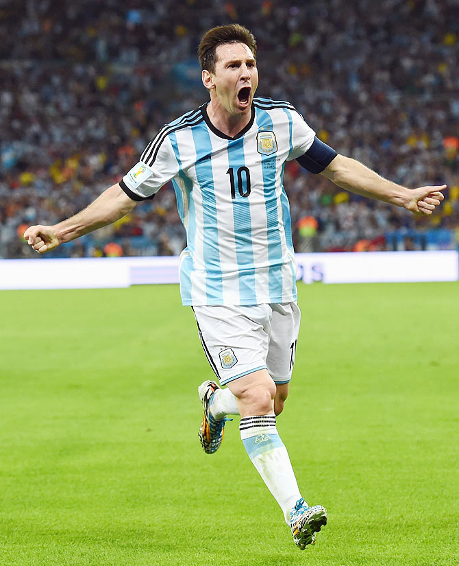 Lionel Messi of Argentina reacts after scoring his team's second goal against Bosnia-Herzegovina at Maracana stadium in Rio de Janeiro on Sunday