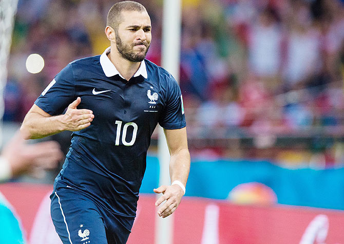 Karim Benzema of France celebrates after scoring his team's third goal against Honduras at Estadio Beira-Rio in Porto Alegre on Sunday