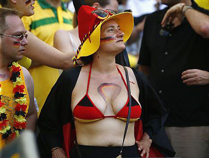 A fan of Germany shows her support