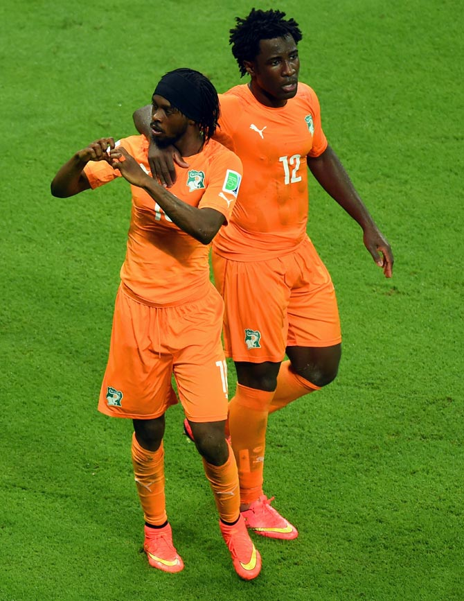 Gervinho of the Ivory Coast (left) with Wilfried Bony