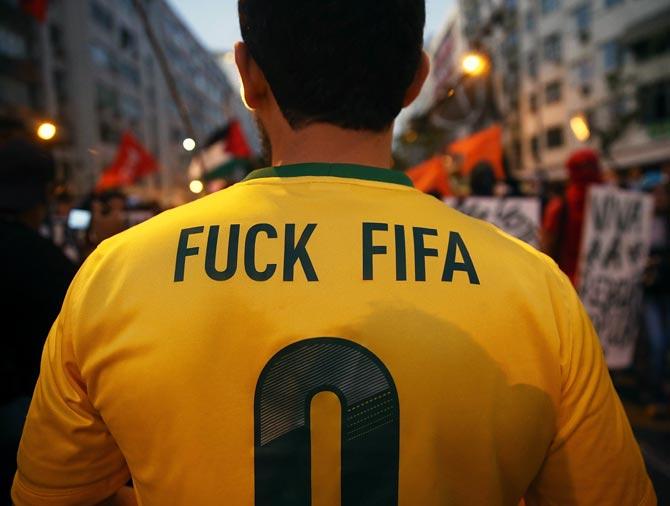 Anti-World Cup protestors in Rio de Janeiro.