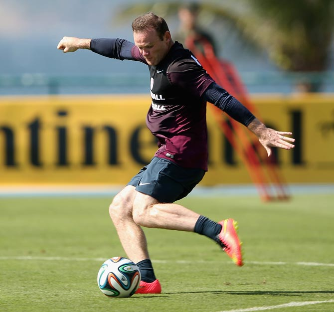 Wayne Rooney of England in action during a training session