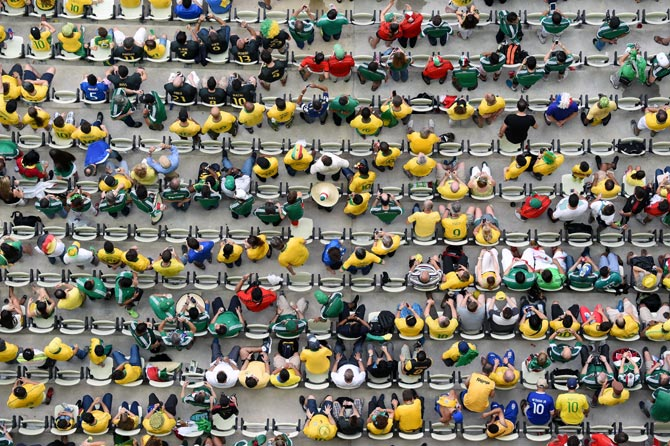 An overhead shot of fans on the stands during the 2014 FIFA World Cup Brazil Group A match between Brazil and Mexico at Castelao in Fortaleza.