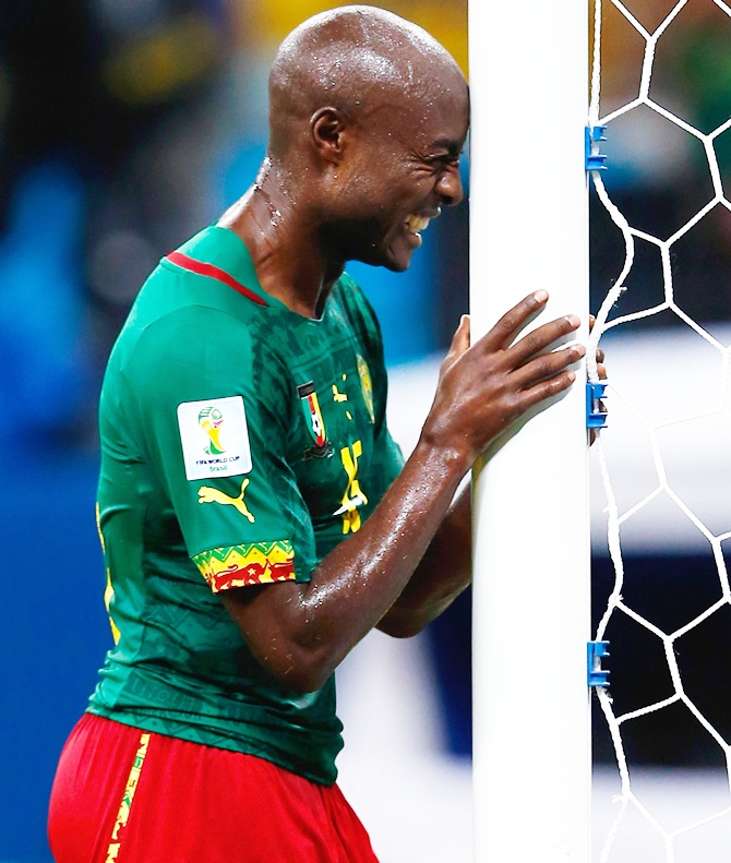 Pierre Webo of Cameroon reacts late in the game during the 2014 FIFA World Cup match against Croatia at Arena Amazonia