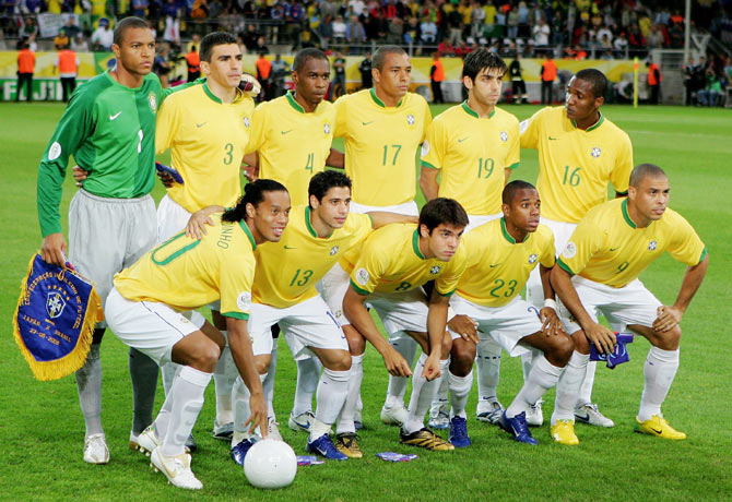 The Brazil team line up before the FIFA World Cup Germany 2006 Group F match between Japan and Brazil at the Stadium Dortmund on June 22, 2006 in Dortmund, Germany