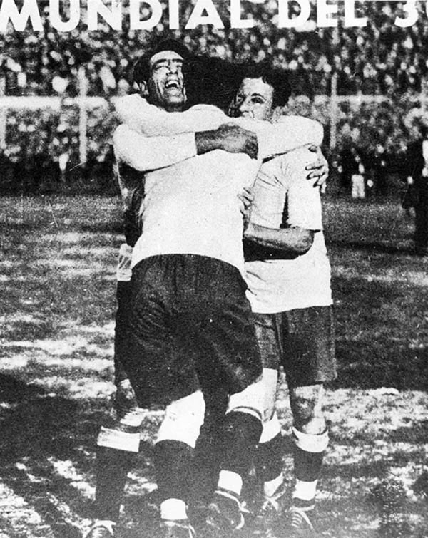 Uruguay's players celebrate winning the 1930 World Cup
