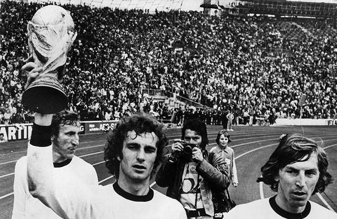The West Germany football team celebrate after winning the 1974 World Cup final