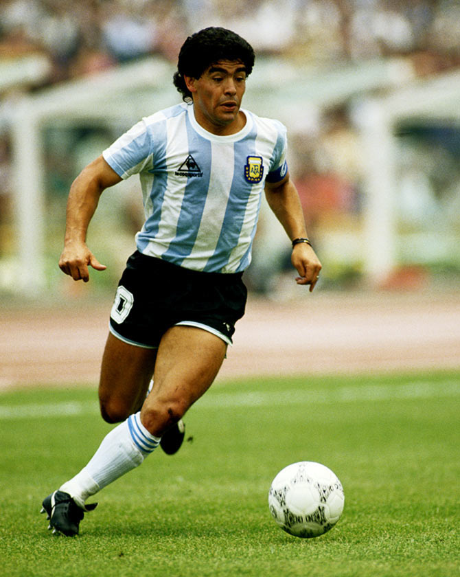 Diego Maradona in action during the 1986 World Cup match against South Korea in Mexico City, on June 2, 1986