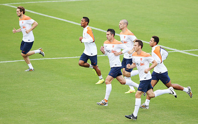 The Netherlands team go through the grind during a training session at the Estadio Jose Bastos Padilha Gavea in Rio de Janeiro on Thursday