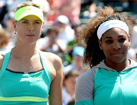 Maria Sharapova (left) with Serena Williams