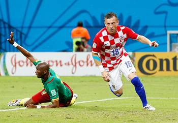 Croatia's Ivica Olic celebrates after scoring his team's first goal against Cameroon