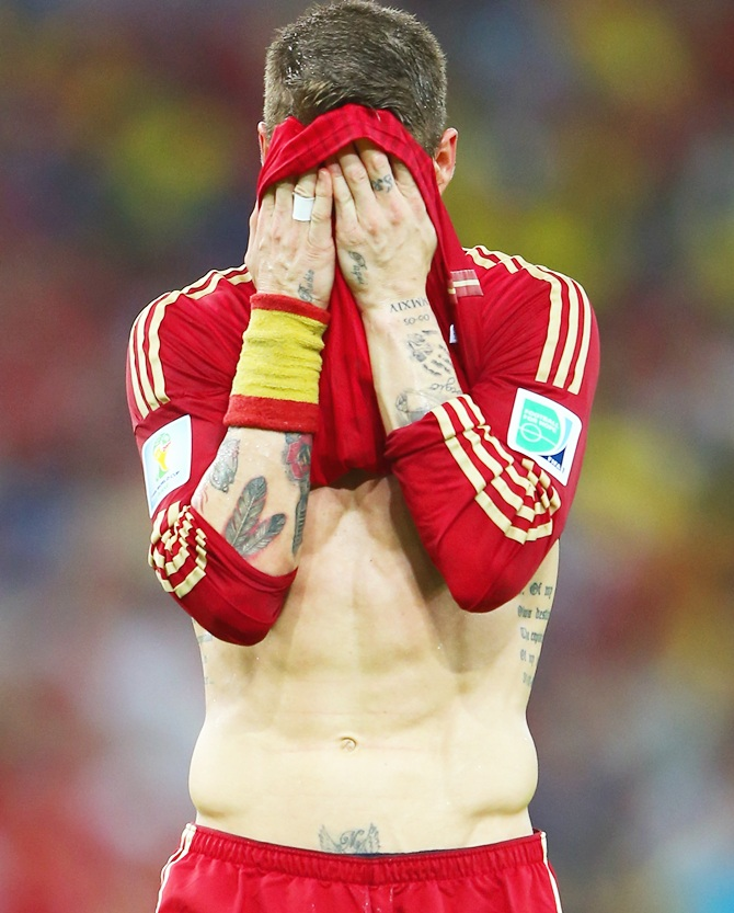 Sergio Ramos of Spain reacts
