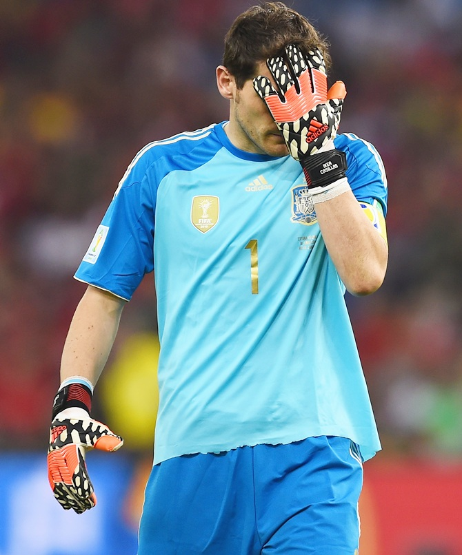 Iker Casillas of Spain reacts after a missed chance