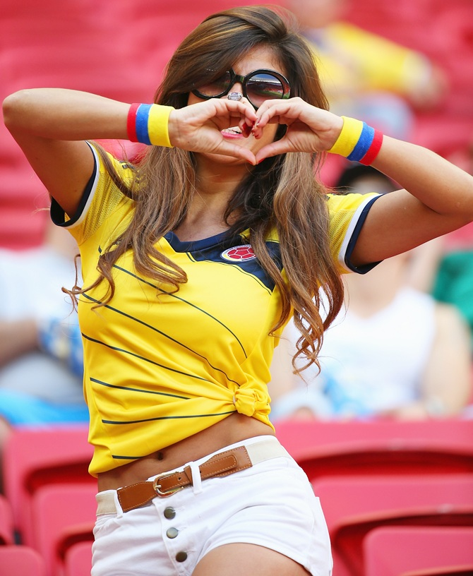 A Colombia fan enjoys