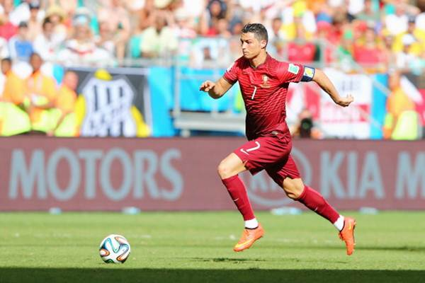 Cristiano Ronaldo of Portugal controls the ball during the Group G match against Germany
