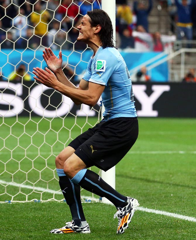 Edinson Cavani of Uruguay reacts after a missed chance