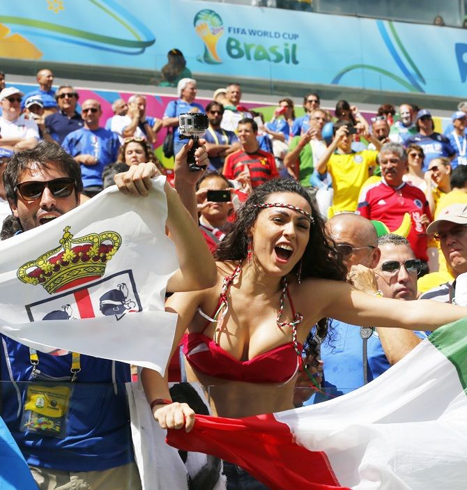 An Italy fan cheers
