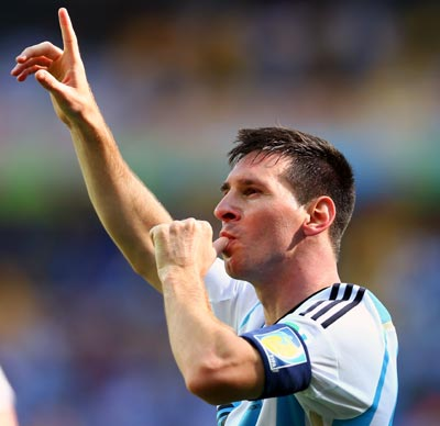 Argentina's Lionel Messi celebrates after scoring a goal