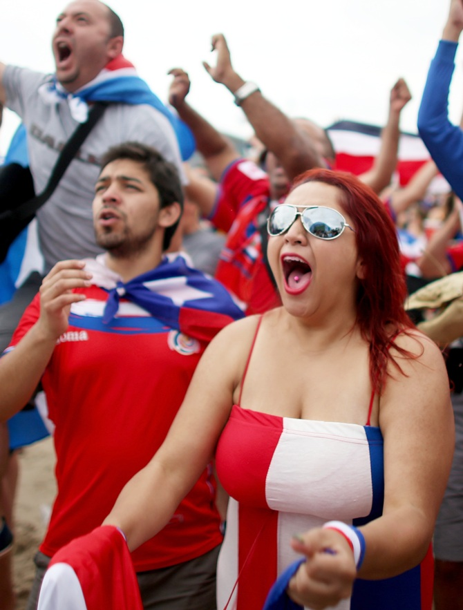 Costa Rican soccer team fans celebrate