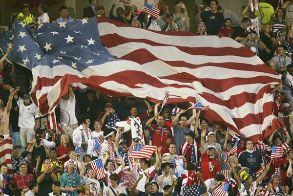 American fans celebrate the 3-2 win over Portugal at the Suwon World Cup Stadium, Suwon, South Korea on June 5, 2002.
