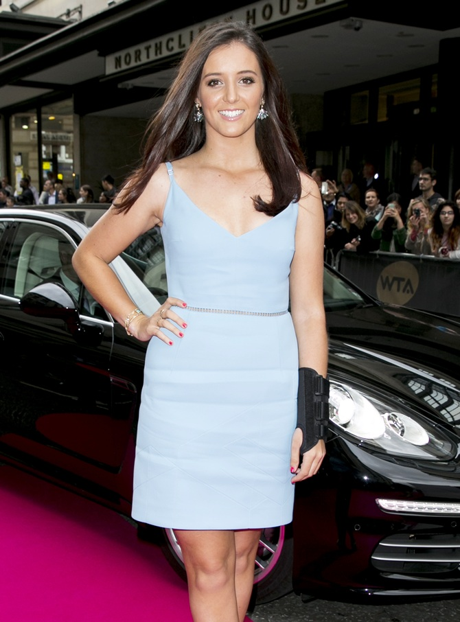 Laura Robson arrives with a Porsche Panamera