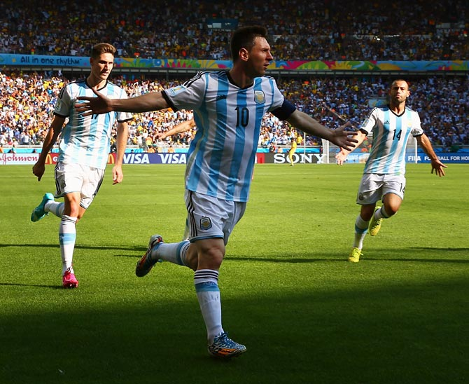 Lionel Messi of Argentina celebrates scoring his team's first goal