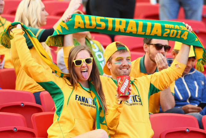 Australia fans cheer their team in Brazil
