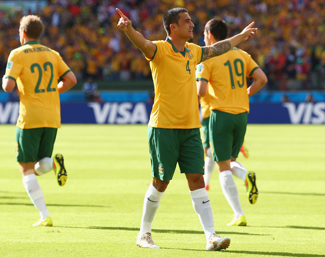 Tim Cahill of Australia celebrates after scoring his team's first goal at the Netherlands