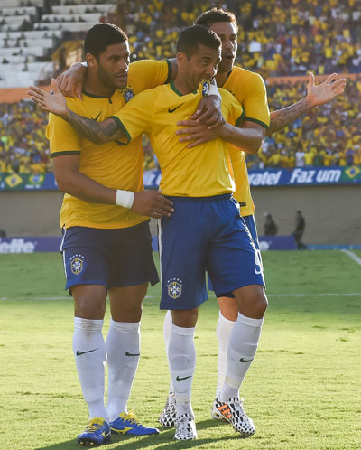 Hulk celebrates with his Brazil teammates