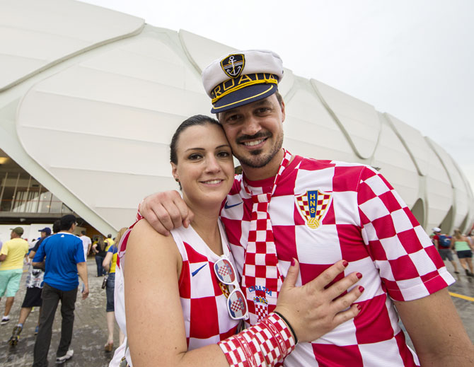 Fans arrive before a Croatia at Arena Amazonas in Manaus