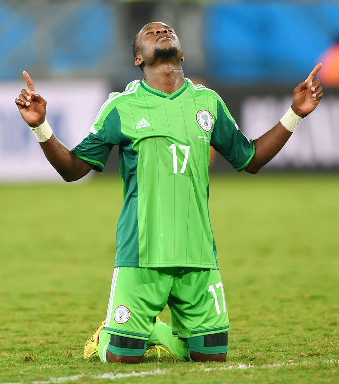 Ogenyi Onazi of Nigeria celebrates a 1-0 victory over Bosnia-Herzegovina in their Group F match at Arena Pantanal in Cuiaba on Friday