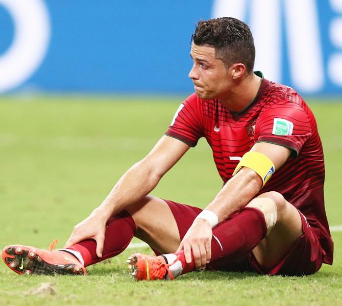 Cristiano Ronaldo of Portugal looks on